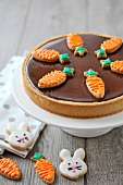 Slice of chocolate-toffee Easter pie