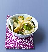 Chicoey, broccoli and almond gratin