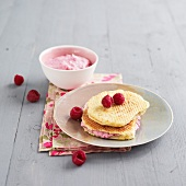Waffles with mascarpone and raspberry filling