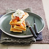 Waffles with smoked salmon and dill whipped cream
