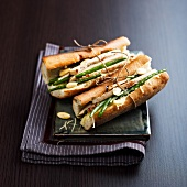 Chicken, green bean, almond and cheese paninis
