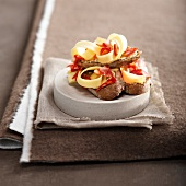 Seedy mustard cream, chorizo and Comté open sandwiches