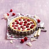 Raspberry and mascarpone pie