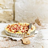 Diced bacon and spring vegetable quiche