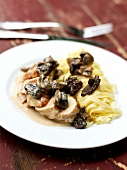Chicken, yellow wine and morel casserole sealed with pastry with fresh tagliatelles