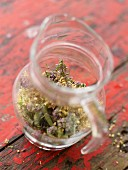 Mixing mountain herbs foe an infusion