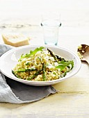 Risotto with green and white asparagus