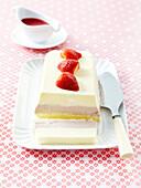Strawberry, vanilla and mango ice cream terrine