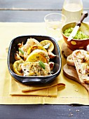 Baked chicken with lemon, rosemary and garlic cloves