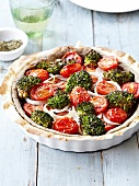 Tomato,broccoli and onion quiche