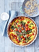 Cherry tomato,spinach,diced bacon and pinenut quiche