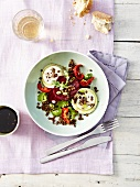 Lentil,goat's cheese,beetroot and confit tomato salad