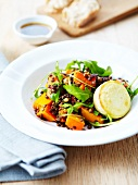 Lentil and sweet potato salad with a grilled Crottin de chèvre goat's cheese