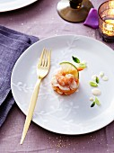 Mango,Dublin Bay prawn and shrimp bite with mint and lime cream