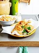 Roasted chicken marinated in yoghurt,coleslaw