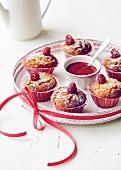 Muffins with raspberry puree