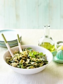 Orecchiette, green asparagus, mint and green bean salad with lemon zests