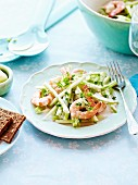 Celery stalk,fennel,green apple and scampi salad