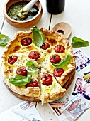 Fromage frais,cherry tomato and basil quiche