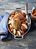 Roasted pheasant thigh stuffed under the skin with apples,roasted vegetables