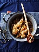 Rabbit,onion,raisin and pine nut casserole