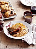 Free-range poulard hen supreme with bacon, braised chicory and sauteed potatoes