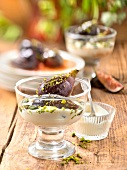 Poached figs in syrup with pistachio creme fraiche
