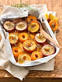 Roasted white peaches and apricots with thyme