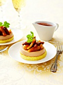 Duck mousse with dried fruit and pan-fried polenta