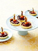 Chocolate and kumquat tartlets