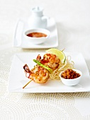 Mini marinated shrimp brochette, sweet and sour chutney and fried noodles