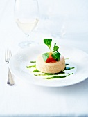 Salmon mouse Timbale with corn lettuce puree