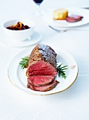 Roast beef with rosemary infusion