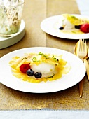 Surprise pineapple carpaccio with lime sorbet and summer fruit