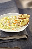 Country-style soup with Muster on toast