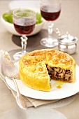 Foie grasnpreserved duch and mushroom pie