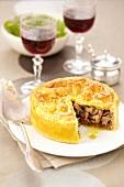 Foie grasnpreserved duch and mushroom pie