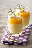 Panacotta with apricot puree and rosemary