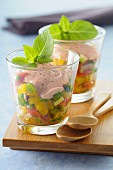 Marinated diced vegetables with tomato cream
