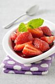 Strawberries glazed in minty wine