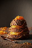Chocolate and orange moist pyramid