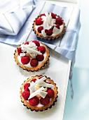 White chocolate, strawberry and lychee tartlets