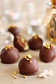 Chocolate and crushed pistachio bites