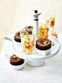 Chocolate-mint mini fondants and mini winter fruit tartares