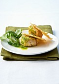 Scallops with corn lettuce butter and parmesan tuiles