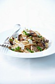Soba noodles with shiitakes, onions and flakes of cheese