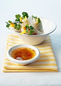 Spring rolls and their sauce