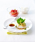 Cod fillet with ginger and cilantro vinaigrette