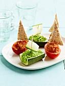 Pea puree and tomato puree vegetable boats