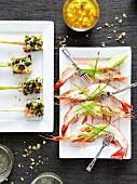 Brochette duo: salmon and herb brochettes and shrimp brochette with mango salsa
